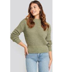 na-kd chunky ribbed wool blend sweater - green