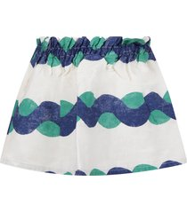 bobo choses white skirt with blue and green print for girl