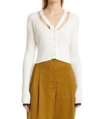 women's proenza schouler white label fine gauge rib cutout cardigan, size medium - white