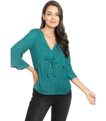 blusa io lisa verde - calce regular