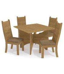 conjunto mesa camomila c/ 4 cadeiras freijó/caramelo kappesberg bege