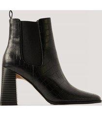 na-kd shoes flared boots med blockklack - black