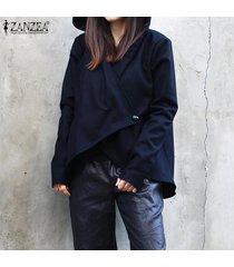 zanzea mujeres camiseta casual de manga larga capa de la chaqueta rompevientos trench coat tops -azul marino