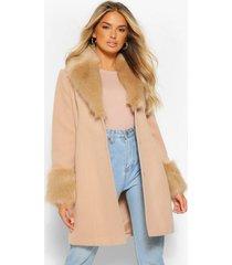 nepwollen jas met faux fur kraag en manchettes, camel