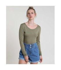 blusa feminina básica manga longa decote redondo verde