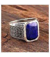men's lapis lazuli ring, 'blue greek key' (india)