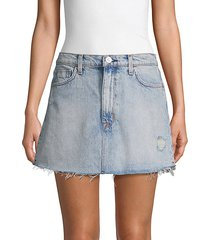 vivid distressed denim mini skirt