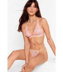 womens hand on your heart lace bralette and thong set - pink
