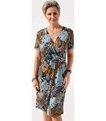 jersey jurk mona marine::cognac::lichtblauw
