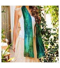 cotton blend scarf, 'emerald dreamer' (guatemala)