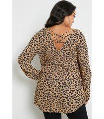 blusa de manga larga cruzada de leopardo con cuello en v y talla grande
