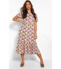 bloemenprint midaxi jurk met pofmouwen, roze