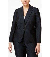 anne klein plus size denim twill one-button blazer
