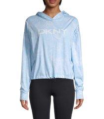 dkny women's pixel palm-print logo hoodie - oasis blue - size l