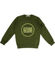 stone island military green crew neck sweatshirt with logo