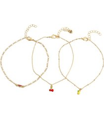 betsey johnson mixed fruit charm anklet set, 3 pieces