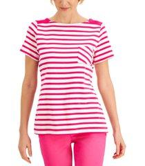 karen scott cotton striped boat-neck top, created for macy's