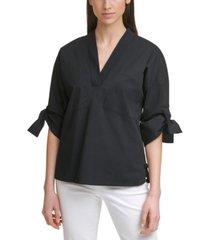 calvin klein solid tie-sleeve v-neck poplin top