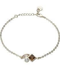 bracciale con pietre sui toni dell'oro in metallo dorato per donna