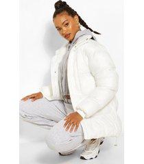 oversized gewatteerde cire jas met hoge hals, white