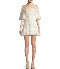 norrina off-the-shoulder lace eyelet shift dress