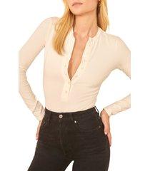 women's reformation nisa bodysuit, size x-small - white