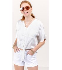 adrianne button down blouse - white