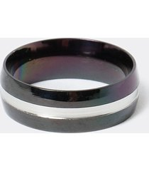 river island mens black lined steel band ring