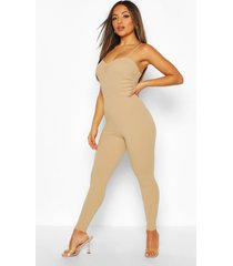 petite ruched cami jumpsuit, nude