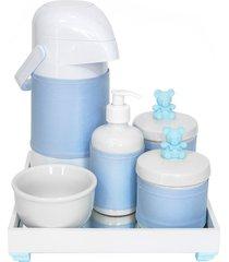 kit higiene espelho completo porcelanas, garrafa e capa ursinho azul quarto bebê menino