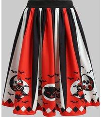 halloween high waist printed pleated skirt