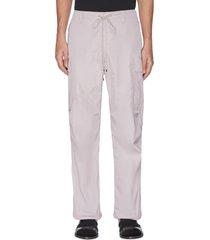 high count' drawstring waist nylon cargo pants