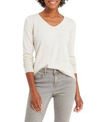 women's nic+zoe vital v-neck sweater, size large - beige