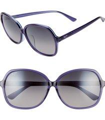 women's maui jim taro 59mm polarizedplus2 round sunglasses - navy w/ light blue/ grey