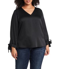 plus size women's cece tie sleeve satin blouse, size 1x - black