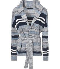 360cashmere stripe patterned cardi-coat