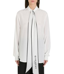 givenchy logoed lavalliere collar shirt