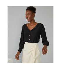 amaro feminino camisa viscose decote v, preto