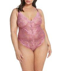 plus size women's oh la la cheri evette front zip lace teddy