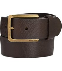 tommy hilfiger men's heavy brass buckle leather belt