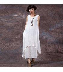 zanzea estilo chino moda nuevo vestido informal para mujer vestidos sueltos de algodón vestidos largos maxi vestidos tallas grandes femininas (blanco roto) -blanco