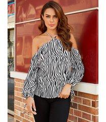 yoins blanco entrecruzado zebra blusa de manga larga con hombros descubiertos y rayas