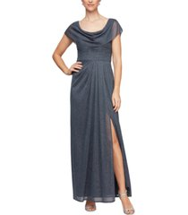 alex evenings petite cowlneck glitter gown