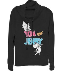 fifth sun tom and jerry cat and mouse logo cowl neck juniors pullover fleece