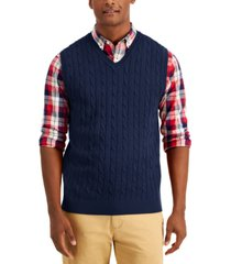 club room men's cable-knit sweater cotton vest, created for macy's