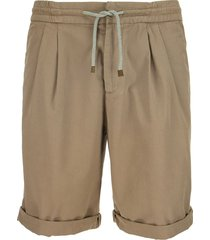 brunello cucinelli cotton bermuda shorts with drawstring and pleats