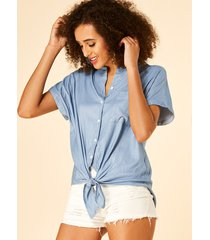 yoins blusa de mezclilla azul con nudo de botones en la parte delantera diseño