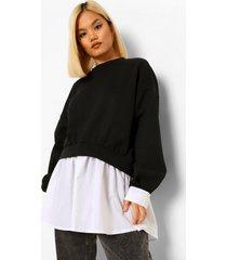 petite 2-in-1 sweater met blouse detail, black