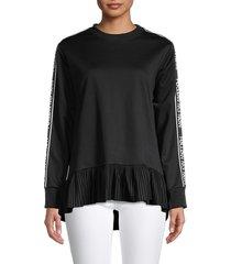 redvalentino women's flounce-hem logo-tape sweatshirt - nero - size s