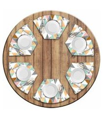 jogo americano love decor  para mesa redonda wevans multi triângulos marble kit com 6 pçs